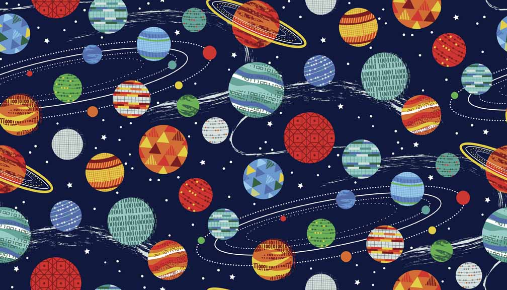 Makower galaxy planets the log cabin for Planet print fabric